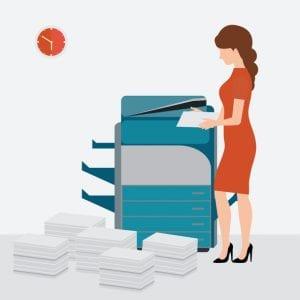 Business woman using copy print machine